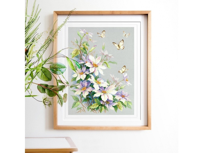 Clematis and Butterflies Cross Stitch Kit фото 3