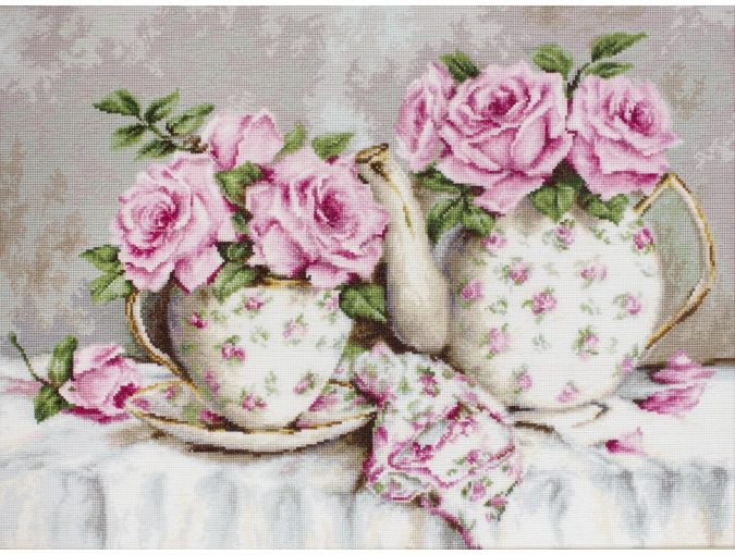 Morning Tea and Roses Cross Stitch Kit фото 1