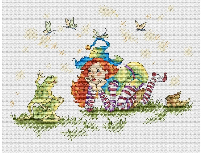 Amelie with Frogs Cross Stitch Pattern фото 1