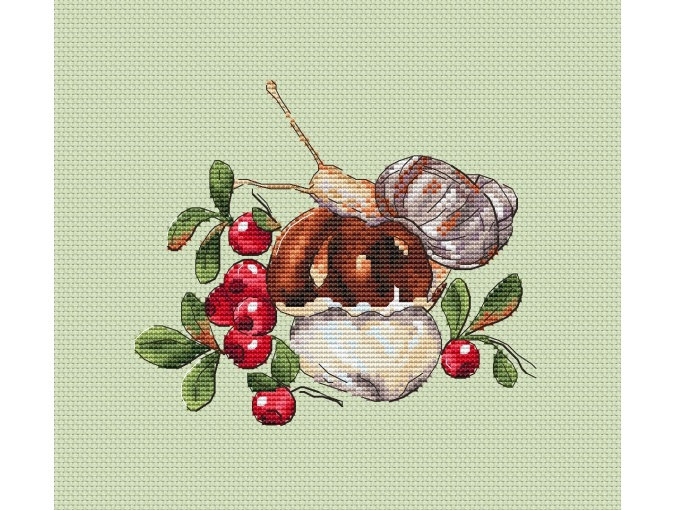 Lingonberry Meadow Cross Stitch Pattern фото 1