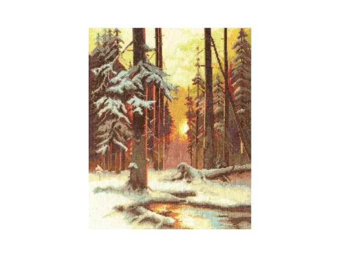 Winter Sunset in a Spruce Forest Cross Stitch Kit фото 1