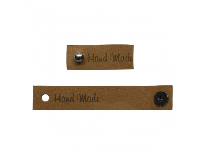 "Leather Label with Button ""Hand Made"", 4pcs фото 4"