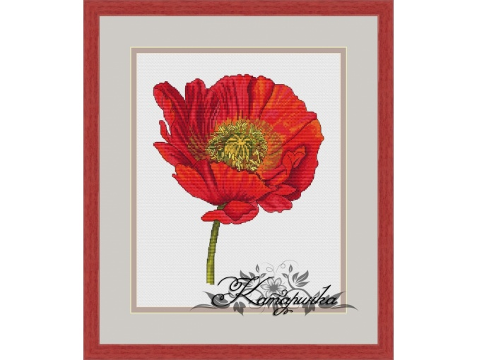 Bright Poppy Cross Stitch Pattern фото 1