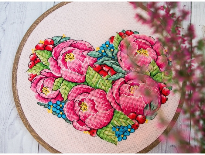 Peony Heart Cross Stitch Pattern фото 3