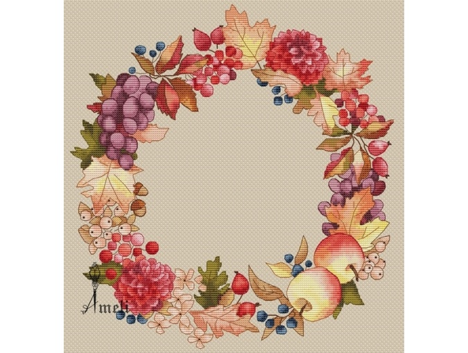Gifts of Autumn Wreath Cross Stitch Pattern фото 2
