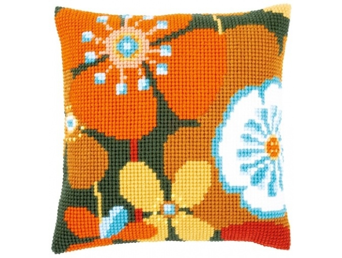 Flowers Retro Cushion Cross Stitch Kit фото 1