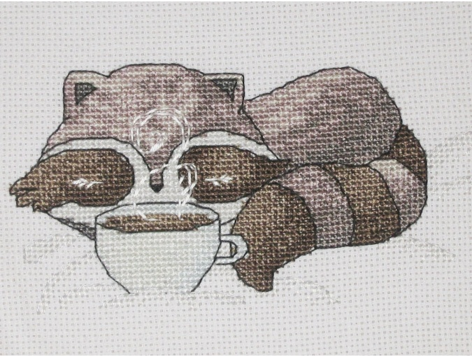 Little Raccoon with Coffee Cross Stitch Pattern фото 2