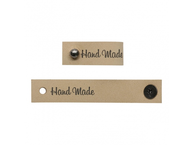 "Leather Label with Button ""Hand Made"", 4pcs фото 2"