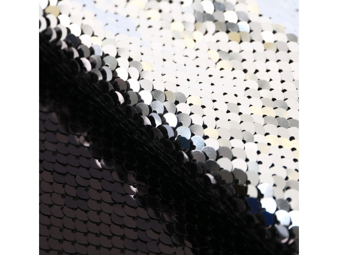 Black/Silver Sequins Patchwork Fabric фото 2