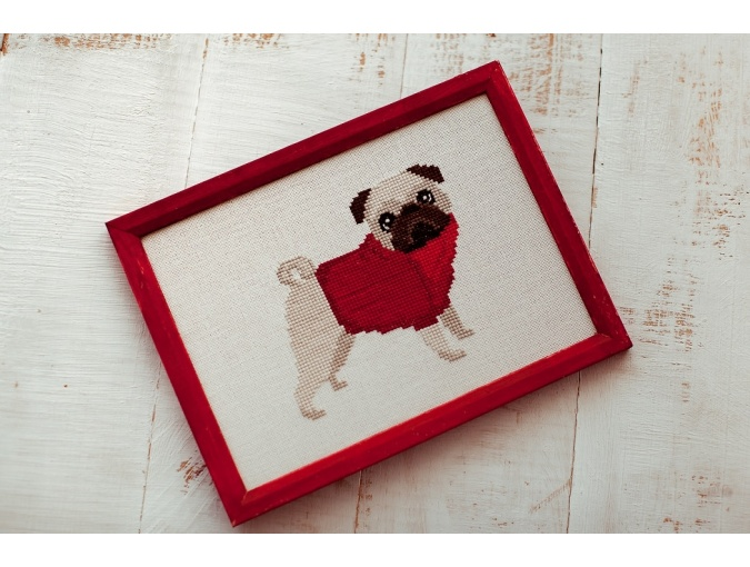 Pug Dog in Red Cross Stitch Pattern фото 3