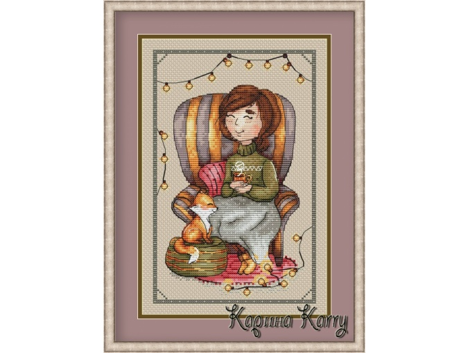 Cocoa Evening Cross Stitch Pattern фото 1
