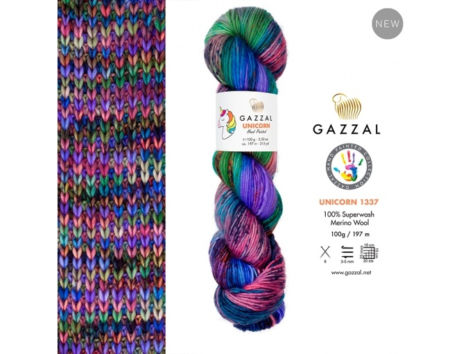 Gazzal Unicorn, 100% merino wool 5 Skein Value Pack, 500g фото 8