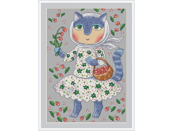 Strawberry Cat Cross Stitch Pattern фото 1