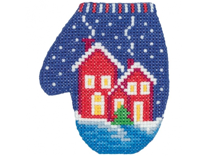 Houses Mitten Cross Stitch Kit фото 1