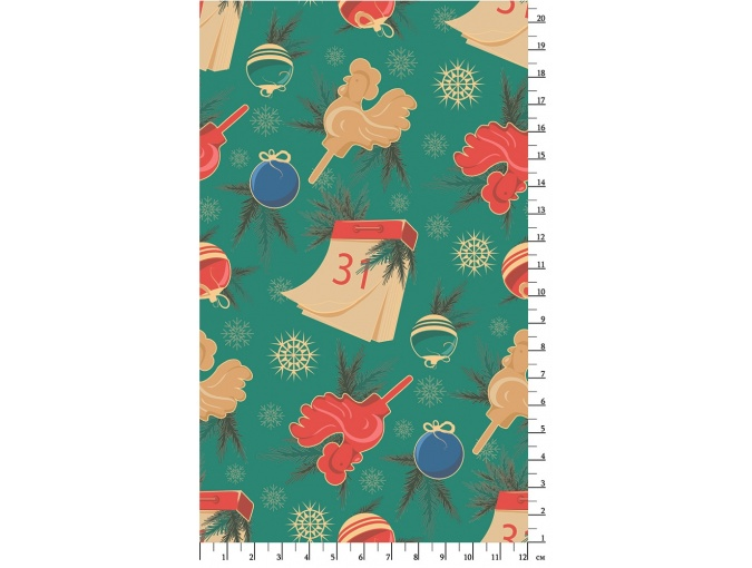 Fat Quarter Peppy, print Green with Golden NCh-16 фото 2