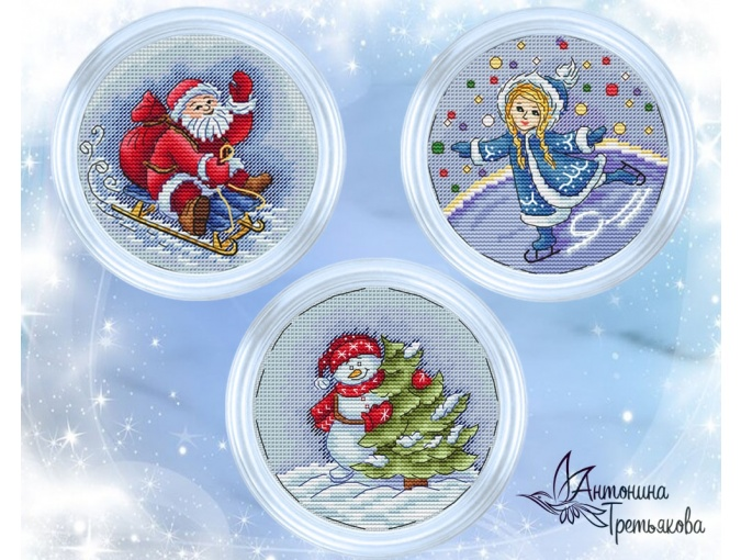 New Year's Сharacters Set Cross Stitch Pattern фото 1