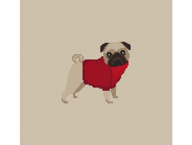 Pug Dog in Red Cross Stitch Pattern фото 2