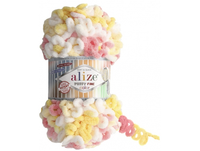 Alize Puffy Fine Color, 100% Micropolyester 5 Skein Value Pack, 500g фото 4
