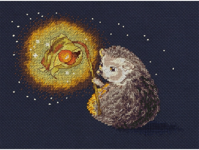 Hedgehog's Night Light Cross Stitch Kit фото 1