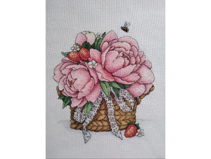 Basket with Peonies Cross Stitch Pattern фото 2