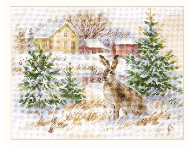 Winter Day. Brown Hare Cross Stitch Kit фото 1