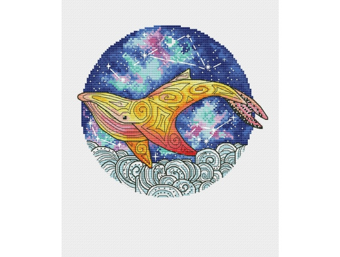 Sky Whale Cross Stitch Pattern фото 1