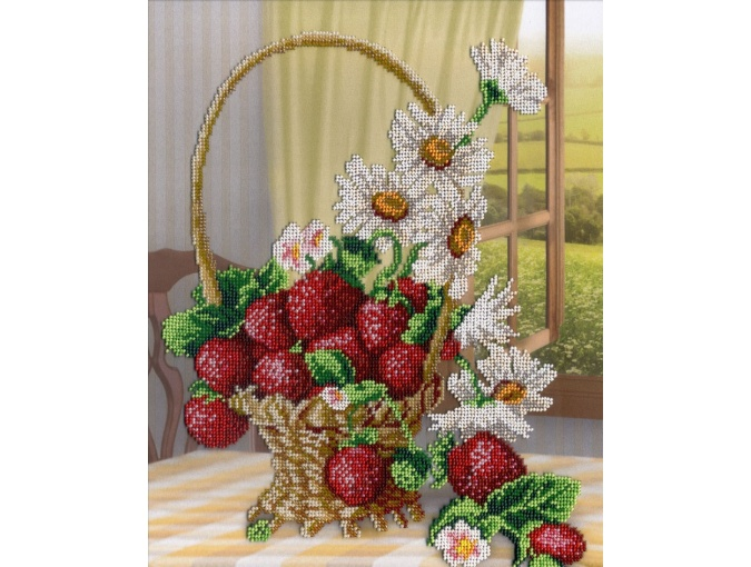 Vase with Daisies and Strawberries Bead Embroidery Kit фото 1