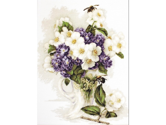 Vase with Jasmine Cross Stitch Kit фото 1