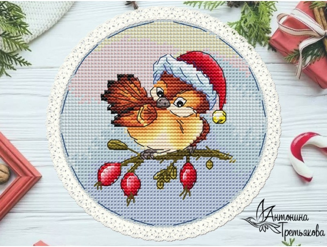 New Year's Birds. Sparrow Cross Stitch Pattern фото 1