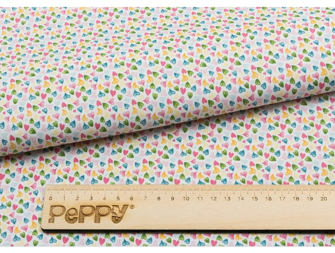 Fat Quarter Peppy, print White with Hearts фото 2