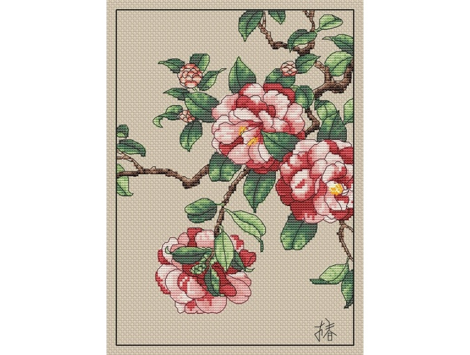 Camellias Cross Stitch Pattern фото 1