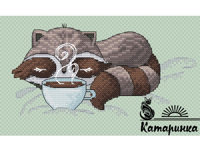 Little Raccoon with Coffee Cross Stitch Pattern фото 1
