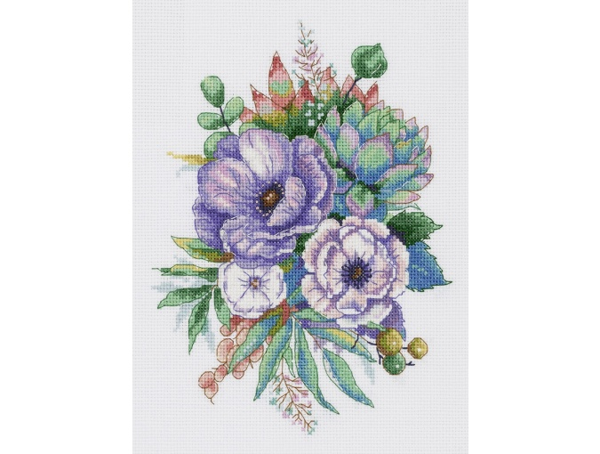 Anemones and Succulents Cross Stitch Kit фото 1