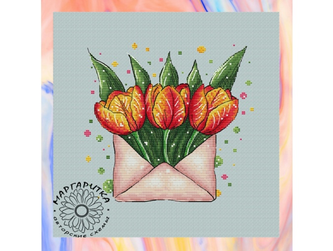 Envelope with Tulips Cross Stitch Pattern фото 1