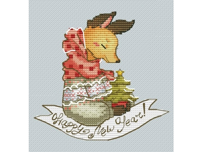 Christmas Fox Cross Stitch Pattern фото 1