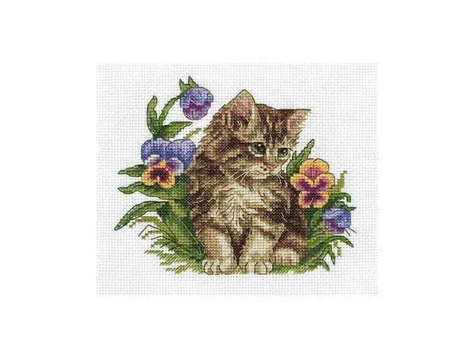 Kitten Among Pansies Cross Stitch Kit фото 1