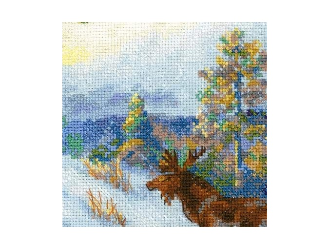 Moose in a Winter Forest Cross Stitch Kit  фото 2