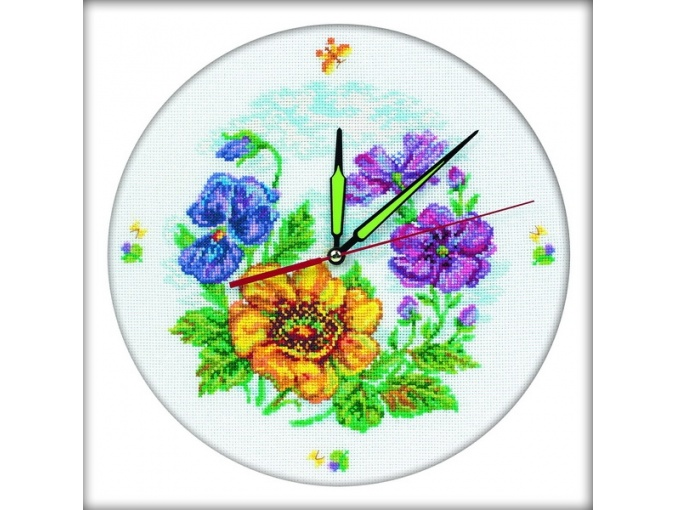 Flower Clock Cross Stitch Kit фото 1