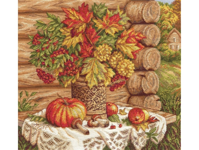 Autumn Still Life with Pumpkins Cross Stitch Kit фото 1