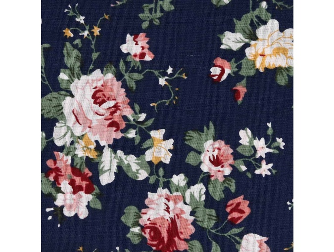Roses on Navy Blue Patchwork Fabric фото 1