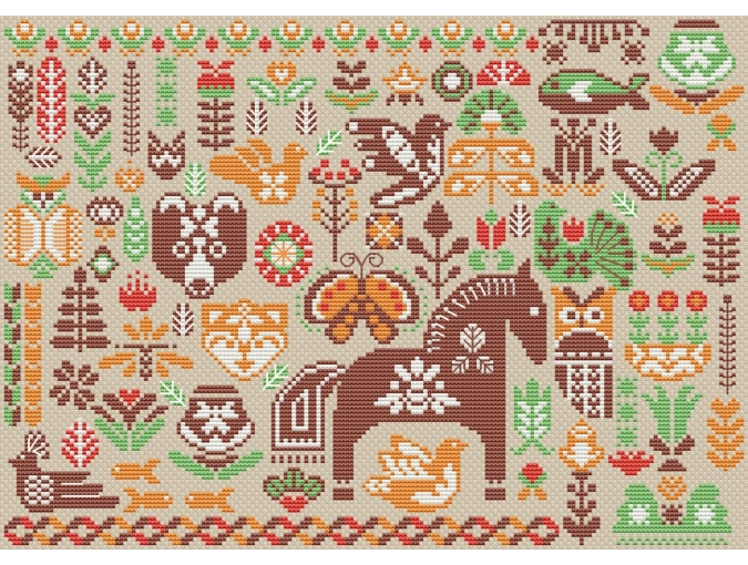 Hygge Green Forest Cross Stitch Pattern фото 4