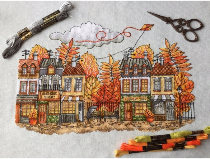 In the City of Autumn Cross Stitch Pattern фото 2