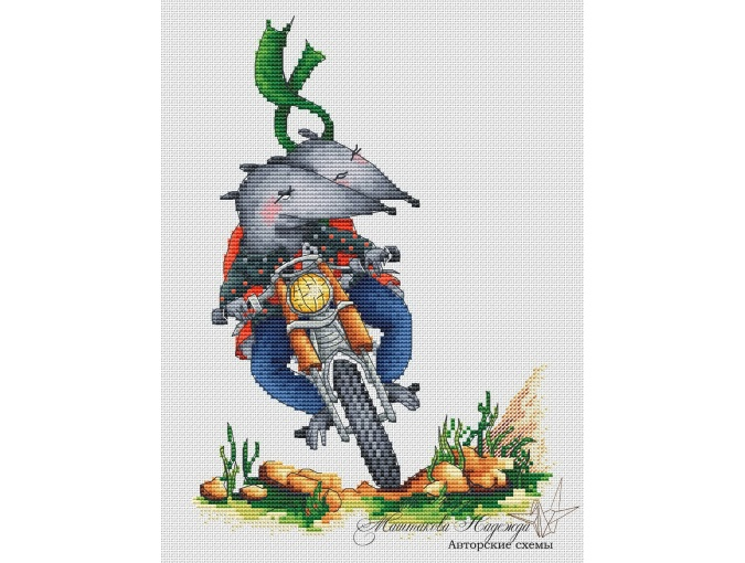 Mouse on a Motorcycle Cross Stitch Pattern фото 1