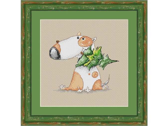 Jack Russel and Christmas Tree Cross Stitch Pattern фото 1