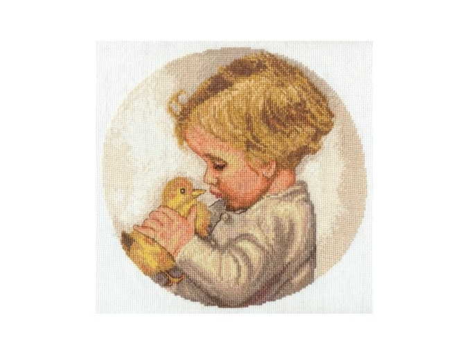 Boy with Duckling Cross Stitch Kit фото 1