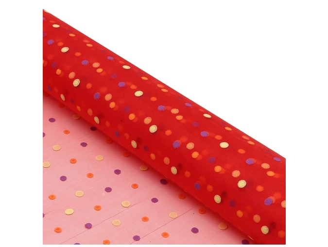 Red Polka Dot Organza Patchwork Fabric фото 2