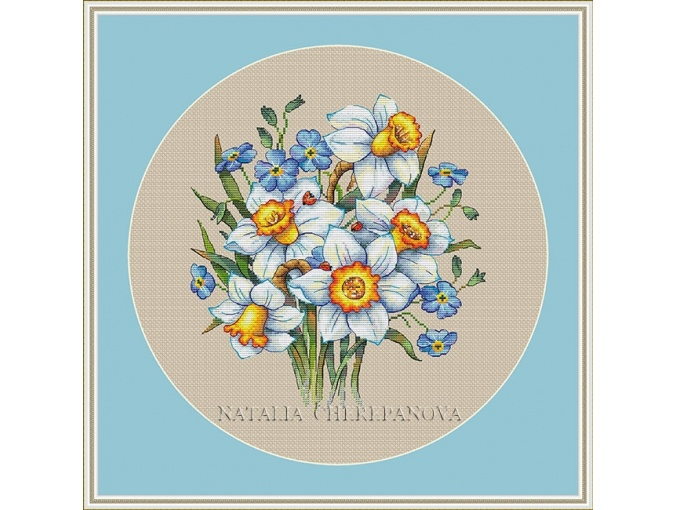 Daffodils and Forget-me-nots Cross Stitch Pattern фото 2