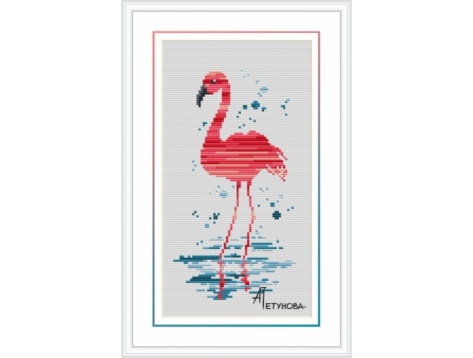 Pink Flamingo Cross Stitch Pattern фото 1