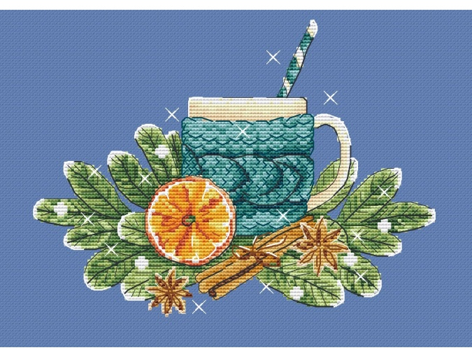 Cocoa with Orange Cross Stitch Pattern фото 1