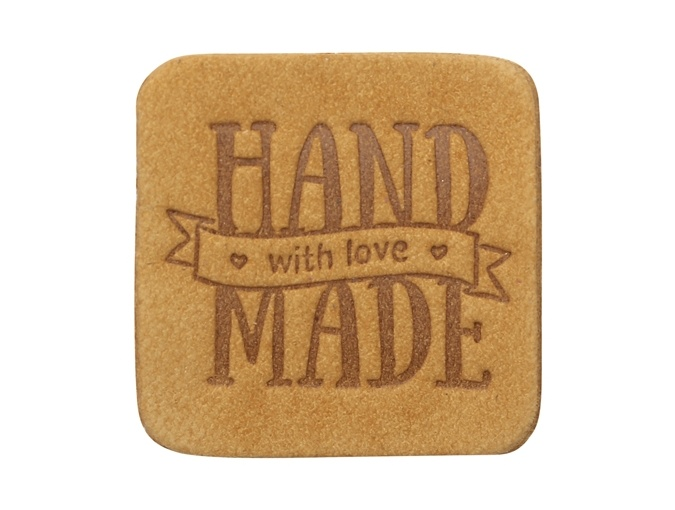 "Label ""Handmade"", leather natural, square фото 6"